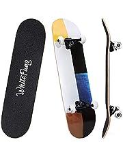 WhiteFang لوح تزلج كامل 31 بوصة لوح تزلج مزدوج ركلة تزلج 7 طبقات كندا مابل سطح تزلج للأطفال والمبتدئين