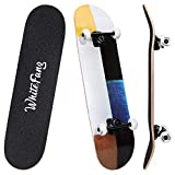 WhiteFang Skateboards 31 Inch Complete Skateboard Double Kick Skate Board 7 Layer Canadian Maple Deck Skateboard for Kids and Beginners(Color Impression)