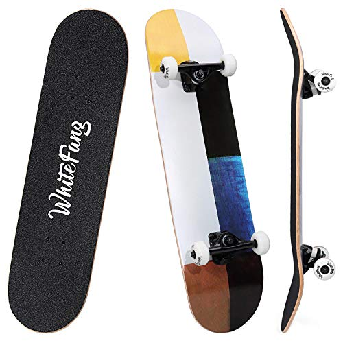 "WhiteFang Skateboards 31"" Complete Skateboard Double Kick Skate Board 7 Layer Canadian Maple Deck Skateboard for Kids and Beginners(Color Impression)"