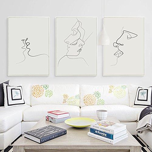 HY&GG Picasso Einfache Linie Kurve Schwarz Weiß Abstrakt Leinwand Gemälde Kunstdruck Poster Bild Wanddekoration Moderne Wohnkultur, 30 X 40 Cm Ohne Rahmen, 3Er Set Kiss