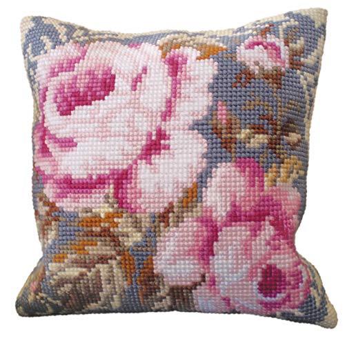 Collection d'Art Single Ancient Rose - Kit per ricamare Un Cuscino a Punto Croce, 40 x 40 cm