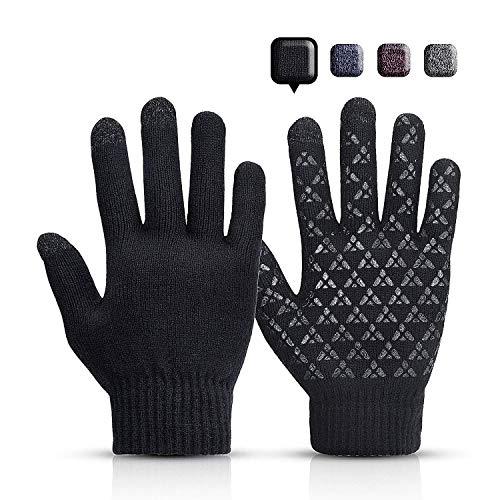 Sholov Guantes Touch screen para Mujer/Hombre, Guantes abrigadores para el hogar, Guantes Termicos Para el Clima frío al Aire Libre, Conducir Antiviento Regalo Ideal (Negro 2) 🔥