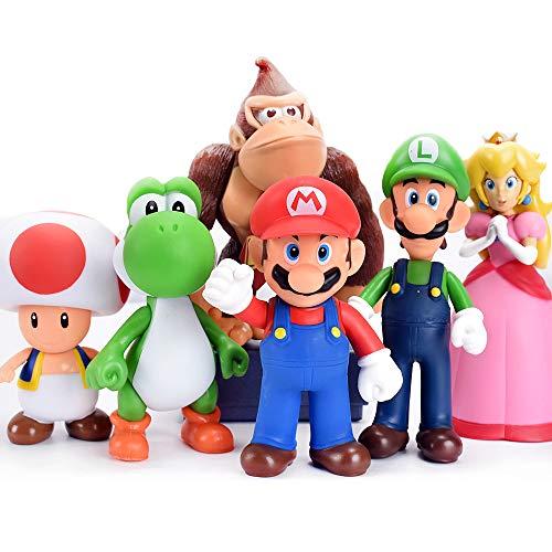 Bsnow Super Mario Figuren, Kinderspielzeug, Mario und Luigi, Yoshi und Mario Bros Actionfiguren, PVC-Spielfiguren, 6 Stück