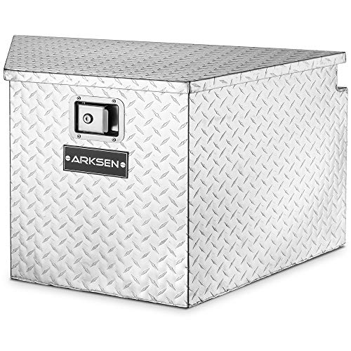 ARKSEN 33' Diamond Plate Aluminum Trailer Tongue Box Pickup Truck Tool Box Storage Organizer With Lock Key, Silver