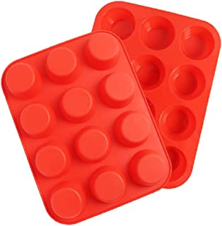 12 Cup Silicone Muffin Pan Nonstick Cupcake Baking Cups Molds Tin Food Grade BPA Free, Red