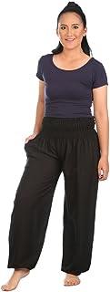 Lannaclothesdesign Women's Smocked Waist Plain Colors Boho Yoga Harem Pants