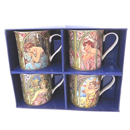 Les Trésors De Lily [P5208 - Geschenkbox 'Alfons Mucha' jugendstil (4 tassen).