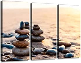 Pile of Balanced Rocks On The Carlsbad State Beach at Sunset Print On Canvas Wall Artwork Modern Photography Home Decor Unique Pattern Stretched and Framed 3 Piece