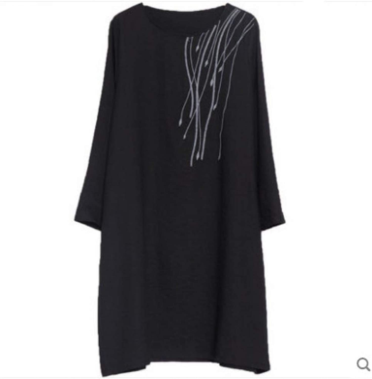 Cxlyq Dresses Large Size A Word Cotton and Linen Embroidered Women's Long Section Long Sleeve Dress