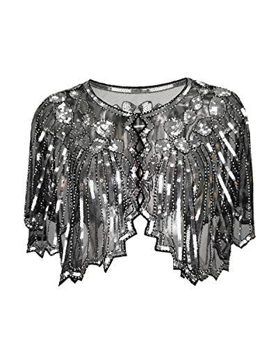 Grouptap 1920er Jahre Silber schwarz Gatsby Schal Bolero Pailletten Cape Achselzucken Wrap für Frauen Damen Flapper Art Deco Vintage Kleid Kostüm (Silber, Einheitsgröße)
