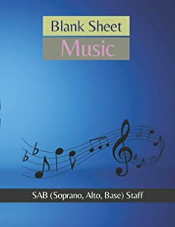 Blank Sheet Music SSA (Soprano, Soprano, Alto) Staff Lighting equipment,spotlight, electric lamp cover, 100 pages - Large(...