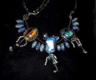 Nefertiti Scarab Carnival Glass Bead Rainbow Peacock Mirror Iridescent Natural Rainbow Lapis Marquise Briollette Beads Necklace OOAK