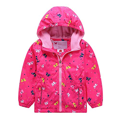 G-Kids Mädchen Wasserdicht Jacke Übergangsjacke Regenjacke mit Fleecefütterung Kinder Warm Winddicht Atmungsaktiv Wanderjacke Outdoorjacke 110/116