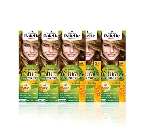 Schwarzkopf Palette Naturals - Tinte 7.55 cabello Rubio Dorado - Coloración Permanente – Perfecta cobertura de canas – Colores increíblemente naturales (Pack de 5)