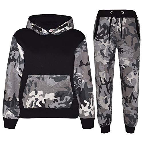 A2Z 4 Kids Enfants Garçons Filles Survêtement Designer Camouflage Imprimé - T.S Camo 604 Charcoal Black 7-8