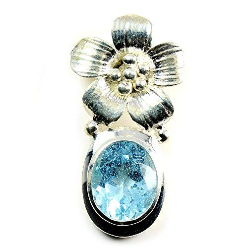 CaratYogi - Colgante Ovalado de topacio Azul para niñas, Plata de Ley 925, diseño de Flor