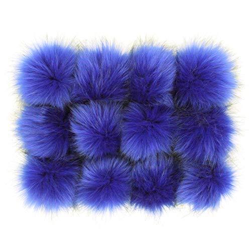 Furling Pompons DIY 12 Stück Kunstfuchsfell Flauschige Bommel für Strickmützen, Taschen, Schlüsselanhänger, Schuhe, 10 cm, königsblau, 3.9 inches