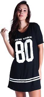 Vestido Camisão Longline BO YOU Curto Estampado New York 099 Preto