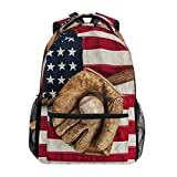 Best Worth Baseball Backpacks - TropicalLife American Flag USA Baseball Backpacks Bookbag Shoulder Review