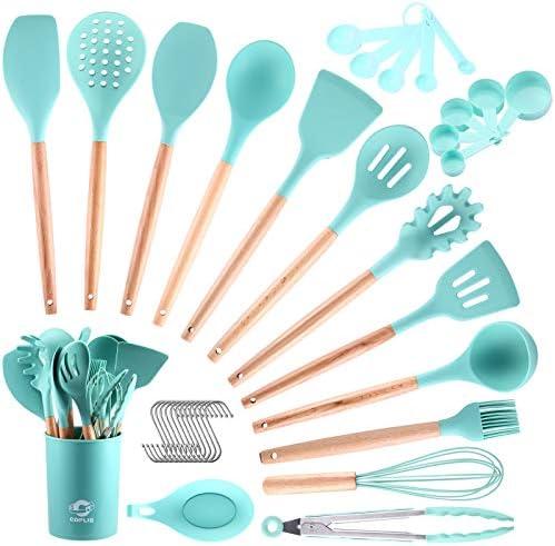 COPLIB Kitchen Cooking Utensils Set 34Pcs Silicone Kitchen Utensils Set Wooden Handles BPA Free product image