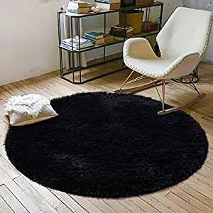 YOH Fluffy Soft Round Area Rugs for Kids Girls Room Princess Castle Plush Shaggy Carpet Cute Circle Furry Nursery Rug for Teen's Bedroom Living Room Home Decor Big Circular Floor Carpet 4'x4′ Black