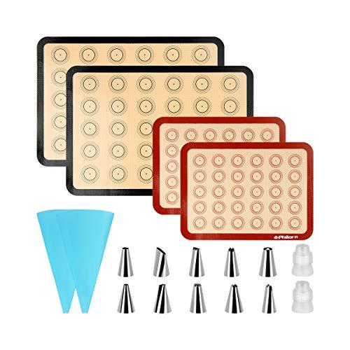 PHILORN Backmatte für Macarons, Backmatte aus Silikon 40 Löcher Macarons Silikonmatte mit 14 Düsen,BPA-freie, Backunterlagen für Makronen/Kuchen/Brot 42x29 cm 22x30 cm, 2 Stück und 4 Stück