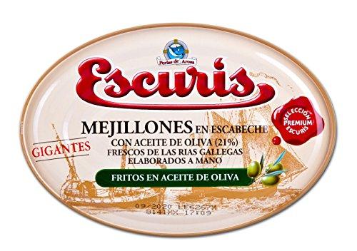 Escuris Mejillones Escabeche Fritos, en Aceite de Oliva - 360
