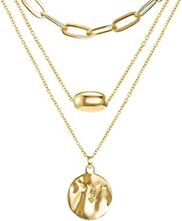 KH 14K Gold Layered Pendant Long Necklace, 3 Layer Choker Necklace Chain Pendant Costume Jewelry for Women