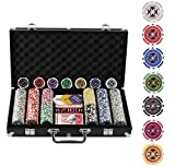 Display4top 300 Piece Texas Holdem Poker Chips Set with Aluminum Case ,2 Decks