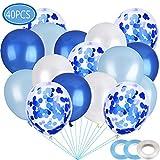 40 Piezas Azul Blancos, Globo Confeti, Globos de Fiesta, Globos de látex Blancos, Globos de Helio Perla, para Decoraciones de cumpleaños