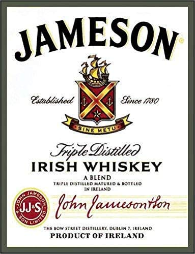 Jameson Irish Whiskey Vintage Metal Tin Sign Wall Plaque Poster Cafe Bar Pub Beer Wall Home Decor 8x12 Inch Tin Sign