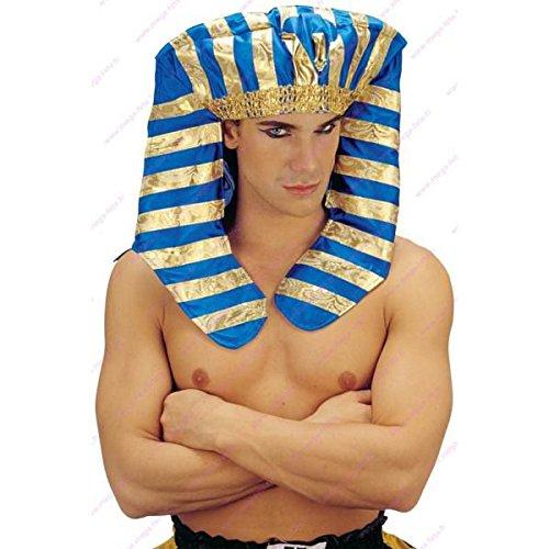 Mondial-fete - Coiffe Pharaon Tissu Luxe Bleu-Or