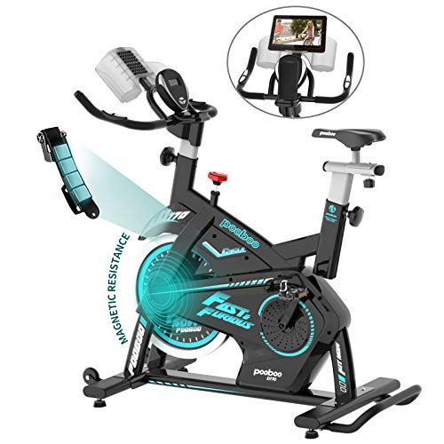 pooboo Magnetic Exercise Bike Stationary 330 Lbs Weight Capacity Indoor Cycling Bike, Cycling Bike with Pad/Phone Mount and LCD Monitor, Adjustable Magnetic Resistance & Heavy Flywheel Smooth Quiet