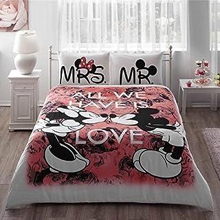 Mickey y Minnie Mouse rey Reina adultos carcasa juego de cama 100% algodón cama hoja linens doona funda de edredón/Colcha funda Sets (rojo, Queen) amado