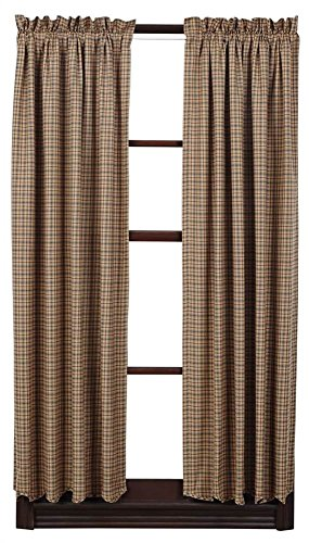 VHC Brands Millsboro Short Panel Scalloped Set of 2 63x36 Country Rustic Curtains, Tan