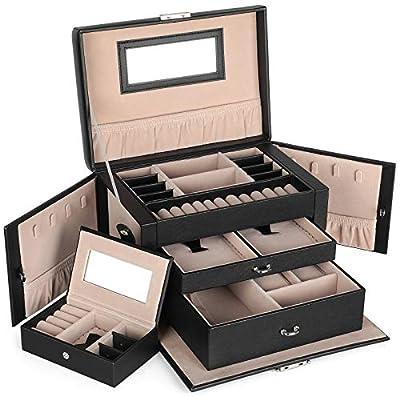 SONGMICS Black Jewelry Box Faux Leather Watch Storage Organizer