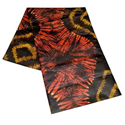 Unbekannt Stoff, African 100% Polyester Bazin Riche Spitze-Gewebe for Brautkleid Schweiz Jacquard-Spitze-Gewebe (Color : Orange and Yellow, Size : 5 Yards)