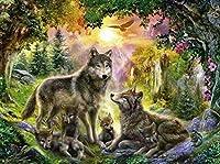 大人と子供のための数字によるDIYペイント初心者のためのキャンバス油絵キット家のための芸術と工芸品森の中のオオカミの家族40x50cmフレームレス