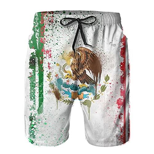 Olverz Pantalones cortos de playa para hombre con diseño de bandera mexicana de secado rápido con cordón y bolsillos