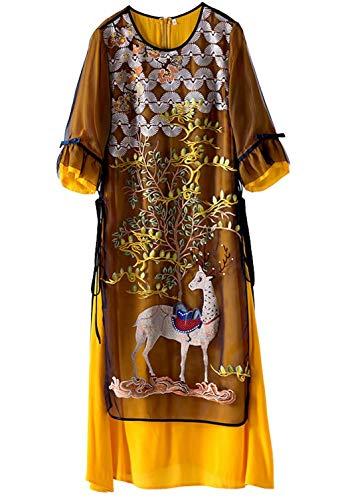 HangErFeng Bordado Seda Organdy Oriental Mujeres Vestido Midi Faldas Estampado Vestido de Seda Falda amarilla2242XL