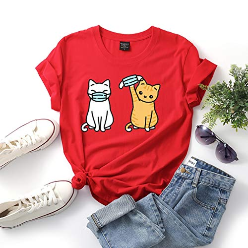 Daryi Cat Wearing A Ma.sk Pattern Short Sleeves I Survived COVID 19 T-Shirt Top, Both Men and Women (Color : Red, Size : 3XL)