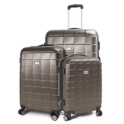 BERWIN Kofferset 3-teilig Reisekoffer Koffer Trolley Hartschalenkoffer ABS Teleskopgriff Modell Squares (Rosa)