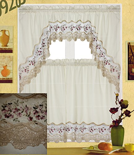 "Fancy Collection 3pc Beige with Embroidery Floral Kitchen/Cafe Curtain Tier and Valance Set 001092 (60"" x 38"", Burgundy/Beige)"