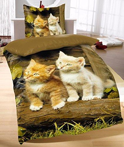 Bettwäsche Katzen 2tlg. Katzenbabys 135x200 cm (80x80 cm)
