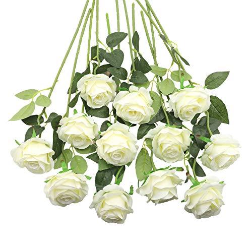 Decpro 12 Piezas de Rosas Artificiales, Flor de Seda de un Solo Tallo Largo de 19.7'' para Ramos de Novia, decoración de Hotel de Oficina, centros de Mesa, arreglos Florales(Blanco)