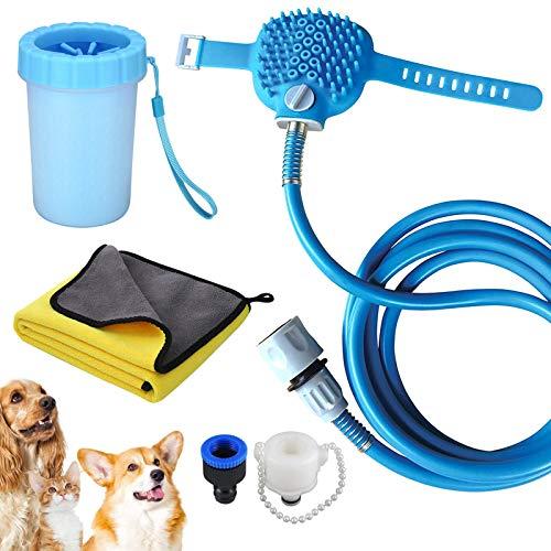 Tailin Juego de herramientas de limpieza 3 en 1 para baño, aseo y limpieza. Herramientas de ducha para mascotas, rociador de ducha para perros y masajeador de depurador en uno.