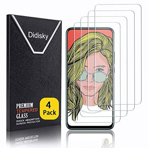 Didisky - Protector de Pantalla de Cristal Templado para Huawei P Smart Z/Huawei Y9 Prime 2019, 4 Unidades, protección de Pantalla [Tacto Suave], fácil de Limpiar, fácil de Instalar, Transparente
