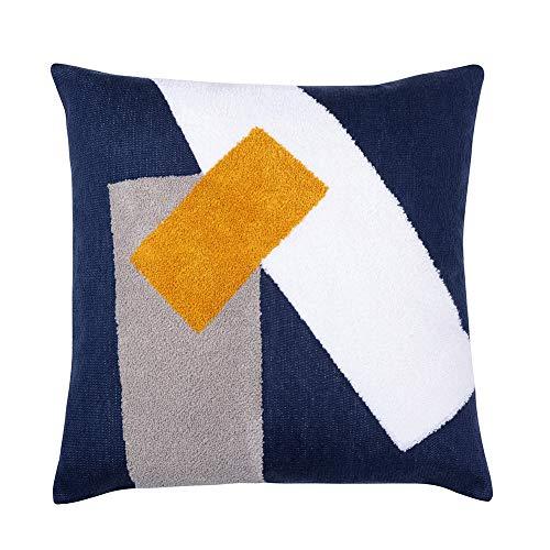 Funda de almohada decorativa bordada de arte abstracto de 18 x 18 – decoración del hogar moderno acento funda de almohada para sofá cama, patrón geométrico de color...