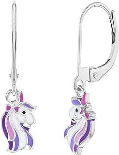 925 Sterling Silver Unicorn Earrings Purple Dangle Lever Back for Girls Teens