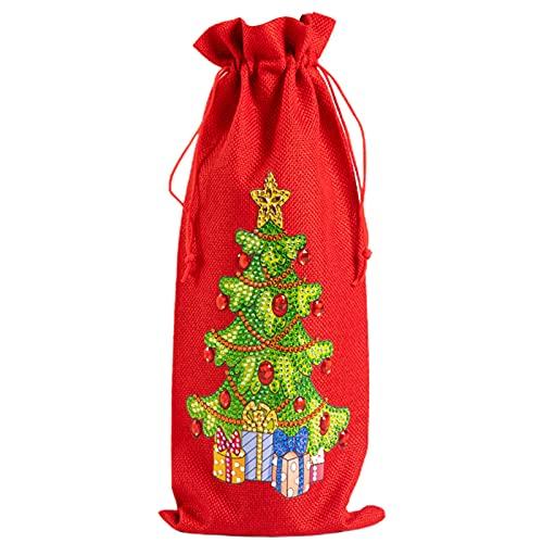Cubierta de la botella de vino, bolsa de regalo creativa de vino 5D tela DIY pintura de diamantes de Navidad botella de vino cubierta para escritorio bolsa de botella de vino a prueba de polvo para